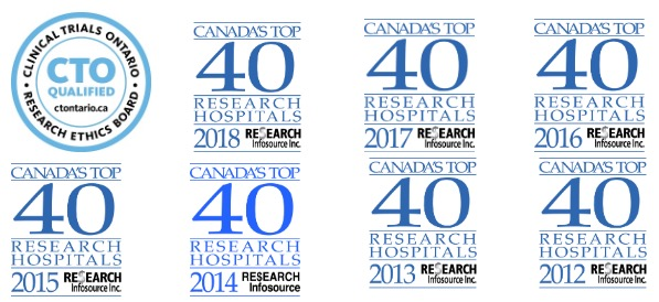 BRI Top 40 Research Hospital awards 2012 to 2018
