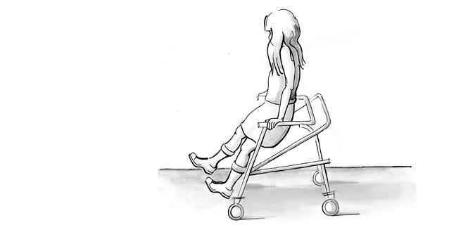 Drawing of a girl in a walker