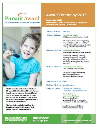 2015 Pursuit Award Agenda PDF