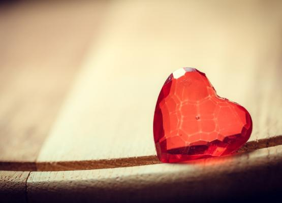 Image of a red glass heart