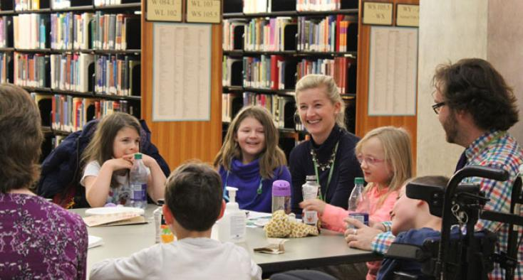 Meeting, with kids, in library