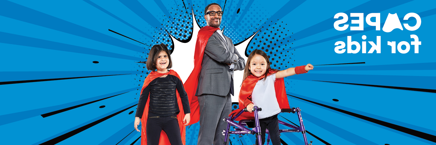 Two young girls and a man all wearing red capes on a blue background