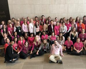 Staff at Holland Bloorview wearing pink shirts