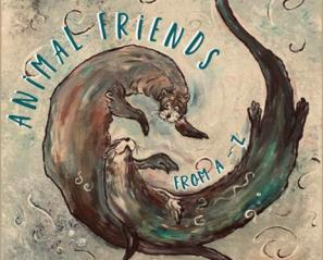 Animal Friends from A to Z book cover, two otters swimming.