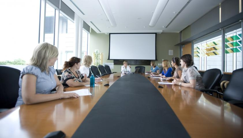 Equipped with a built-in projector and screen, microphones and teleconference system