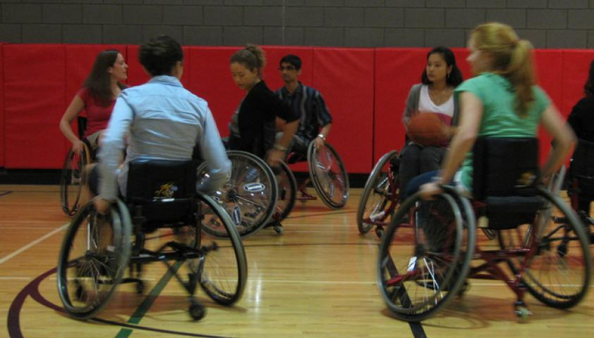 The gym is home for all types of recreation, including wheelchair sports