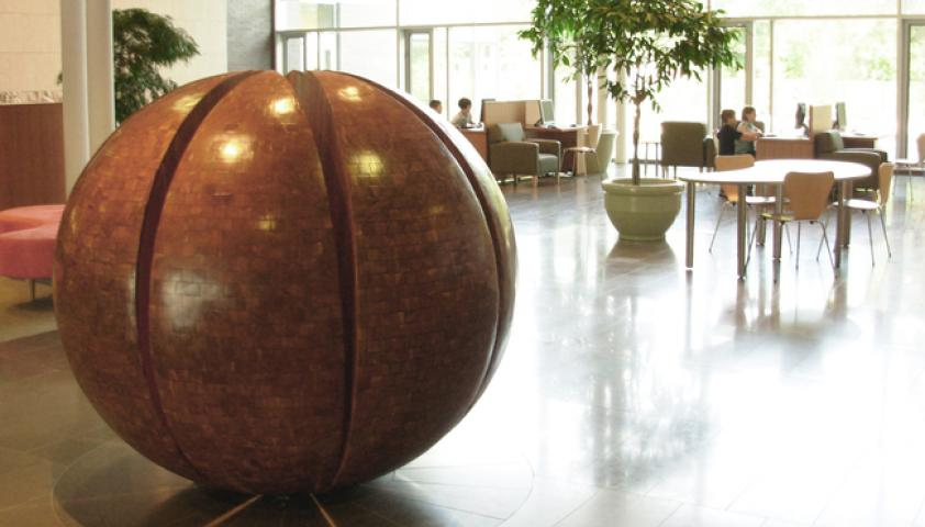 The sphere sits at the hub of the lobby area and is a great meeting spot for visitors