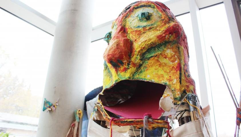 Close-up of the giant puppet.