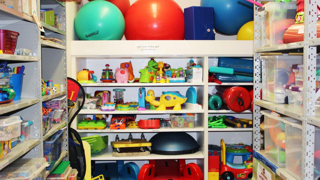 A toy-filled storage room.