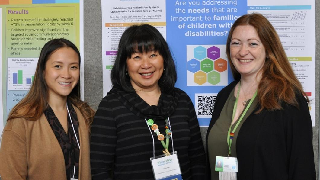 Gloria Lee, a research manager (left), Caron Gan, advanced practice nurse/family therapist and clinical team investigator [middle], and Louise Rudden, a nurse practitioner (right), present their research at the symposium's poster presentation session