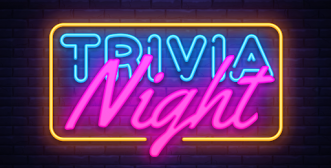 trivia night in bright neon letters